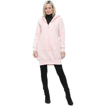 Clothing Women Parkas Flam Mode Baby Pink Fleece Lined Hoodie Parka Pink