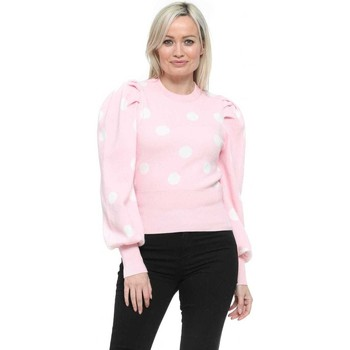Clothing Women Jumpers Qed London Baby Pink Polka Dot Puff Sleeve Jumper Pink