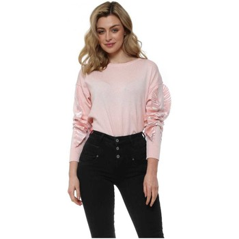 Clothing Women Jumpers May By Shining Star Baby Pink Satin Frill Sleeve Jumper Pink
