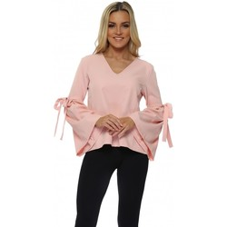 Clothing Women Tops / Blouses Boutique Baby Pink Tie Bell Sleeve Blouse Pink