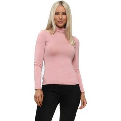 Clothing Women Tops / Blouses Qed London Baby Pink Turtle Neck Soft Touch Long Sleeve Top Pink