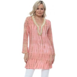 Clothing Women Tops / Blouses Hot Lava Bamboo Moonstone Long Tunic In Coral Orange