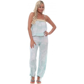 Clothing Women Jumpsuits / Dungarees Hot Lava Bamboo Seamist Tie Dye Bandeau Shell Jumpsuit Blue