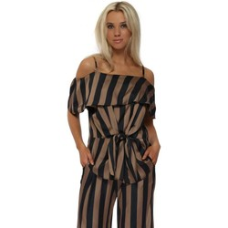 Clothing Women Tops / Blouses Briefly Bardot Bronze & Black Striped Tie Front Blouse Top Brown