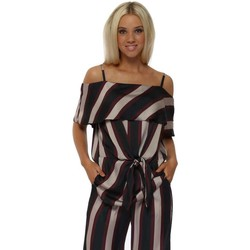 Clothing Women Tops / Blouses Briefly Bardot Burgundy & Navy Striped Tie Front Blouse Top Bordeaux
