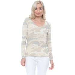 Clothing Women Tops / Blouses Made In Italia Beige Camo Sparkle Trim Long Sleeve Top Beige