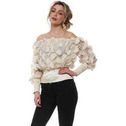 Clothing Women Tops / Blouses Shk Paris Beige Disco Discs Bardot Top Beige