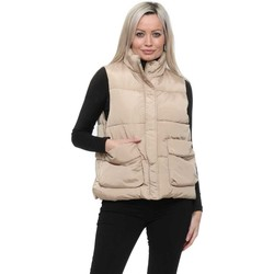 Clothing Women Waistcoasts Boutique Beige Quilted High Collar Big Pockets Gilet Beige