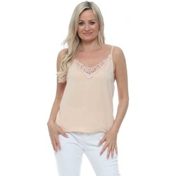 Clothing Women Tops / Sleeveless T-shirts Capsule Beige Slinky Lace Neck Camisole Top Beige