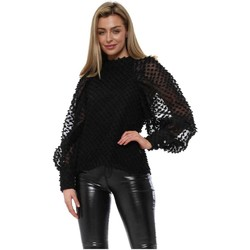 Clothing Women Tops / Blouses Golden Days Black Embroidered Spot Blouse Top Black