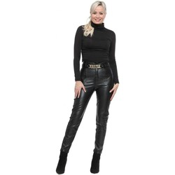Clothing Women Slim jeans May By Shining Star Black Faux Leather Corset Chain Trousers Black