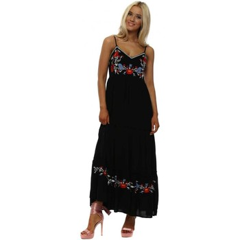Clothing Women Long Dresses May By Shining Star Black Floral Embroidered Boho Maxi Dress Black