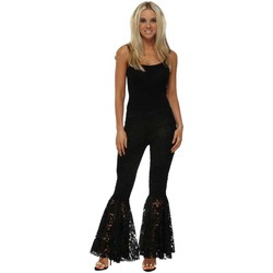 Clothing Women Chinos Jeff Gallano Black Floral Lace Flared Trousers Black