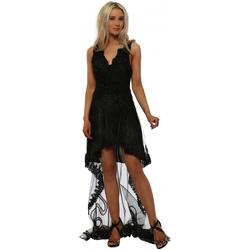Clothing Women Short Dresses Starry Eyed Black Hi Low Beaded Ribbon Dress With Lace Train Black