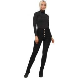 Clothing Women Leggings Vera & Lucy Black High Waisted Button Skinny Stretch Trousers Black