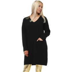 Clothing Women Jumpers E Diva Black Pocket Tunic Jumper Dress Black