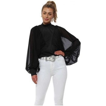 Clothing Women Tops / Blouses Flamant Rose Black Ruched Statement Batwing Sleeve Blouse Top Black
