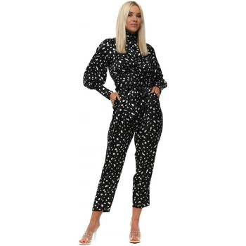Clothing Women Jumpsuits / Dungarees Boutique Black Satin Spotty Puff Sleeve Backless Co-Ord Set Black