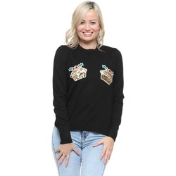 Clothing Women Jumpers Qed London Black Sequinned Mince Pies Christmas Jumper Black