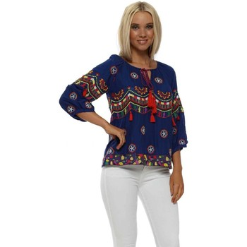 Clothing Women Tops / Blouses Nj Couture Blue Boho Embroidered Cotton Short Top Blue