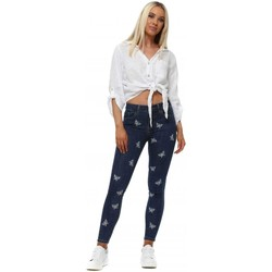 Clothing Women Skinny jeans Redial Blue Butterfly Embroidered Skinny Jeans Blue