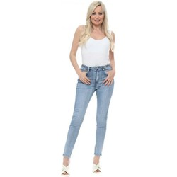 Clothing Women Skinny jeans Toxik3 Blue Denim Stretch Fit High Waisted Jeans Blue