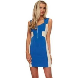 Clothing Women Short Dresses Vera & Lucy Blue Mini Dress With Nude Mesh Contrast Blue