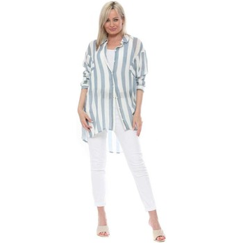 Clothing Women Tops / Blouses Qed London Blue Striped Oversized Shirt Blue