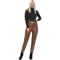 Clothing Women Leggings May By Shining Star Brown Faux Leather Corset Chain Trousers Brown