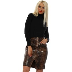 Clothing Women Skirts May By Shining Star Brown Snakeskin Patent Leatherette Skirt Brown
