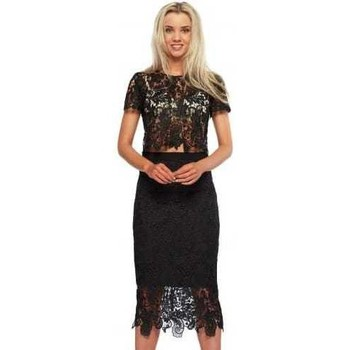 Clothing Women Short Dresses Abyss Bunny Set Black Lace Pencil Skirt & Cropped Top Black