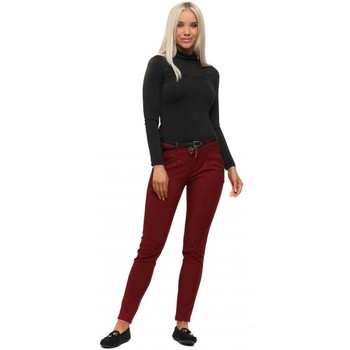 Clothing Women 5-pocket trousers E Diva Burgundy Belted Skinny Stretch Trousers Bordeaux