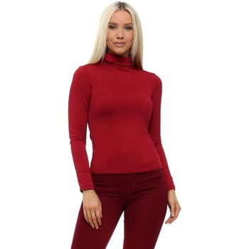 Clothing Women Tops / Blouses Qed London Burgundy Turtle Neck Soft Touch Long Sleeve Top Bordeaux