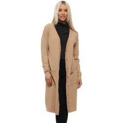 Clothing Women Jackets / Cardigans Qed London Camel Luxe Long Length Cardigan Beige