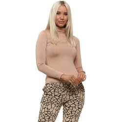 Clothing Women Tops / Blouses Qed London Camel Turtle Neck Soft Touch Long Sleeve Top Beige