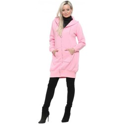 Clothing Women Parkas Flam Mode Candy Pink Fleece Lined Hoodie Parka Pink