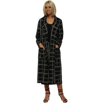Clothing Women Coats A Postcard From Brighton Charlie Black Checkie Print Deconstruct Jacket Black