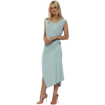Clothing Women Long Dresses A Postcard From Brighton Chloe Knot Tie Maxi Dress In Paradise Blue Melange Blue