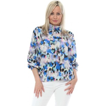 Clothing Women Tops / Blouses Made In Italia Cobalt Blue Ombre Leopard High Neck Blouse Blue