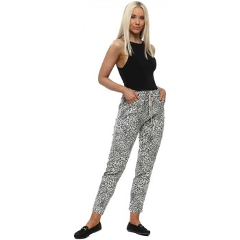 Clothing Women Tracksuit bottoms Made In Italia Cream Leopard Print Sparkle Joggers White