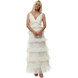 Clothing Women Long Dresses True Decadence Cream Low Back Tiered Frill Maxi Dress White