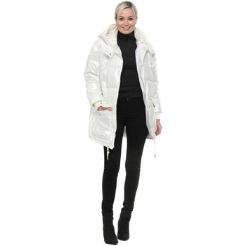Underwear Women Padded K Zell Cream Pearlised Hooded Quilted Coat White