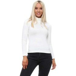 Clothing Women Tops / Blouses Qed London Cream Turtle Neck Soft Touch Long Sleeve Top White