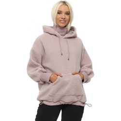 Clothing Women Track tops Unigirl Dusky Pink Teddy Borg Polo Neck Hoodie Pink