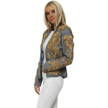 Clothing Women Jackets Starry Eyed EXCLUSIVE Chambray Gold Embellished Trophy Jacket Blue