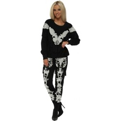Clothing Women Tracksuits Starry Eyed EXCLUSIVE Pearl & Tassel Embellished Black Tracksuit Black