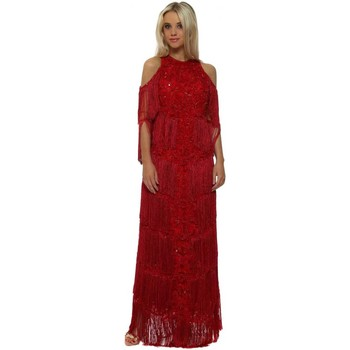 Clothing Women Long Dresses Starry Eyed EXCLUSIVE Red Tassel Embellished Cold Shoulder Maxi Dress Red
