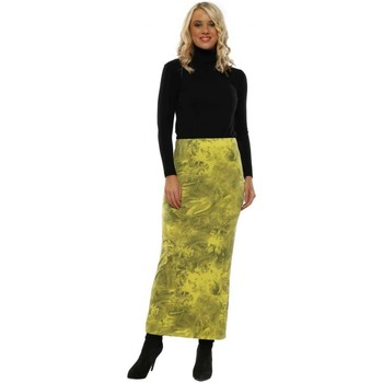 Clothing Women Skirts A Postcard From Brighton Faith Golden Lime Frosted Flowers Jersey Skirt Green