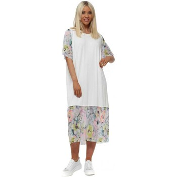Clothing Women Long Dresses A Postcard From Brighton Fiona Daisy White Floral Chiffon Pleated Dress White