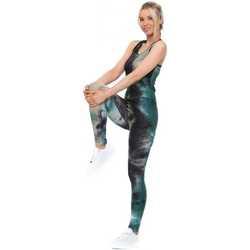 Clothing Women Tracksuits Boutique Green & Black Tie Dye Honeycomb Vest & Leggings Gym Green
